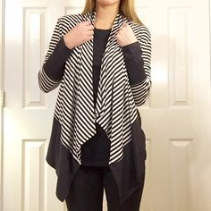 • Black & White Cardigan • Features: black and white stripe cardigan. Runs true to size I am wearing small.  Please do not purchase this listing, comment size and I will make a new one  NO TRADES PRICE FIRM 15% BUNDLES Sweaters Cardigans