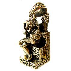 Loki Norse God Pendant in Bronze - Jötunn SHAPE SHIFTER on THRONE by Dryad Design - God of Chaos Loki
