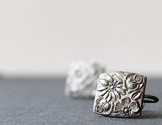 Vintage Sterling Silver 925 Repousse Flowers Square by 716Buffalos, $35.00