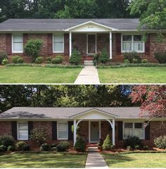 update brick ranch exterior thicken up molding around front door, or add shutters on either side. Ranch Exterior, House Paint Exterior, Exterior Remodel, Exterior House Colors, Exterior Houses, Cottage Exterior, Orange Brick Houses, Brick Ranch Houses, Red Brick Homes