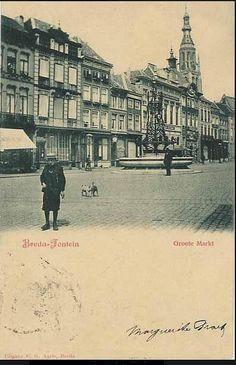 Oude ansichtkaart van de grote markt in Breda toen de oranje-fontein daar nog stond.
