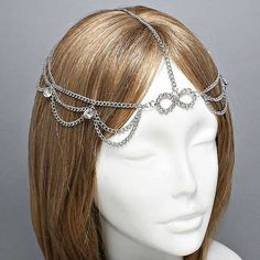 """Chintomby Thode (Mathias) Dyer Hughes -- Smith Beard said no headbands, but he never said no """"head chains""""! Silver Crystal Infinity Head Chain Headpiece, Grecian headchain, House Of Harlow Style Gypsy head jewelry Haadchain Chain Headpiece, Chain Headband, Diy Headband, Flower Headbands, Wholesale Hair Accessories, Hair Accessories For Women, Shoes Wholesale, Wholesale Clothing, Gold Fashion"""