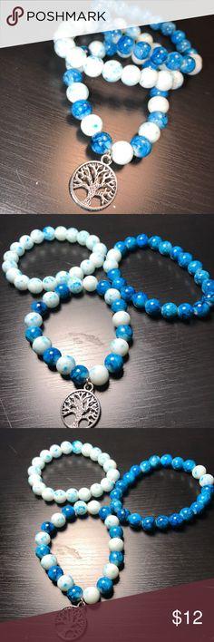 "Bracelet Set🔵❄️ Handmade wavey bracelet set (Set of 3) Blue calms me 🌊...  so I hope it does the same for you 😊 One bracelet has the tree of life pendant 🌲 ""Without water the tree cannot grow."" Jewelry Bracelets"
