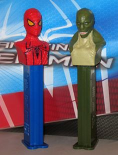 2012 Pez Spiderman and The Lizard.  (Box #3)  (missing Spiderman)