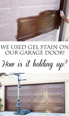DIY Gel Stain Garage Door Update - Domestically Speaking