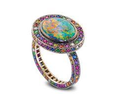 Solange Azagury-Partridge, Chromantic ring, black opal and multi-coloured gemstones ring set in blackened 18ct white gold