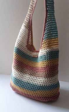 Crochet Handbag Bags, Purses Handbag, Shoulder Bag, Crochet Handbag, T… Free Crochet Bag, Crochet Tote, Crochet Market Bag, Crochet Handbags, Crochet Purses, Crochet Beach Bags, Crochet Summer, Crochet With Cotton Yarn, Bag Pattern Free