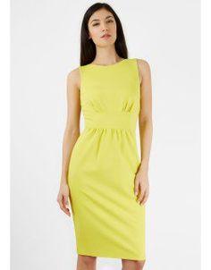 Lime Yellow Waistband Sleeveless Dress