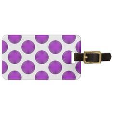 Purple Golf Ball Polka Dot Pattern Travel Bag Tag