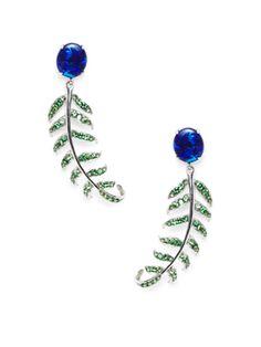 Blue Opal & Tsavorite Garnet Fern Drop Earrings from From the Vault: Gemstones on Gilt