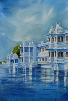 The Lake Palace situated in center of Pichhola lake in Udaipur,Rajasthan is known for its beauty and architacture. It is one of the most romantic hotels in the world.Its a star hotel of Taj group of hotels. Watercolor Paintings For Beginners, Watercolor Landscape Paintings, Landscape Drawings, Abstract Landscape, Watercolor Art, Rajasthani Painting, Indian Paintings, Buy Paintings Online, Online Painting