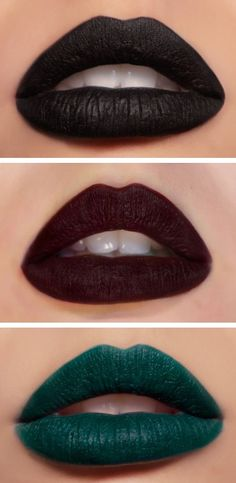Melt Cosmetics just restocked and released their new shades Blow (a really unique deep sea green) and Bane (a rich matte black), both which I've managed to get my hands on and am excited to swatch (along with the infamous a beautiful burgundy shade! Makeup Trends, Makeup Inspo, Makeup Art, Lip Makeup, Melt Makeup, Makeup Inspiration, Beauty Makeup, Green Lipstick, Dark Lipstick