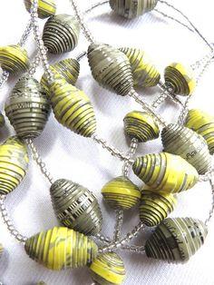 Tissue box multistrand paper bead necklace