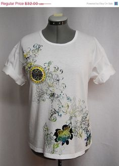 Welcome Spring Sale Custom Tee #Shirt A Mix of  #Floral Fabric #Applique and Paint Stamping by paulagsell, $25.60