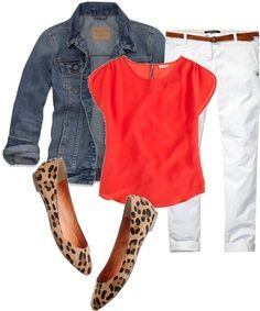 White pants, coral top, jean jacket and leopard shoes.