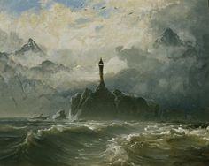 Peder Balke (1804-1887): Seascape and lighthouse
