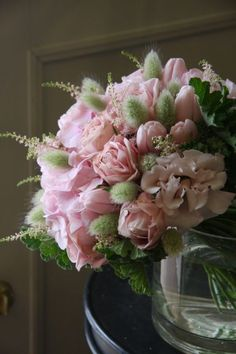 Pink and Green floral arrangement with tulips, roses and hydrangeas Beautiful Flower Arrangements, Floral Arrangements, Beautiful Flowers, Floral Bouquets, Wedding Bouquets, Wedding Flowers, Fleur Design, Bloom, Arte Floral