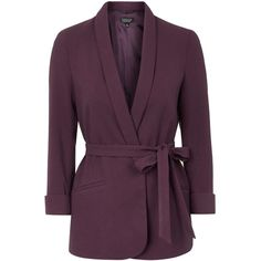 TOPSHOP Belted Girlfriend Blazer ($76) ❤ liked on Polyvore featuring outerwear, jackets, blazers, deep berry, topshop blazer, belted jacket, fitted jacket, tailored blazer and topshop