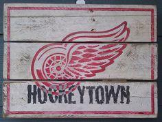 Detroit, Red Wings, Wings, Hockeytown, Hockey, Vintage looking sign, pallet wood, hand made, hand painted