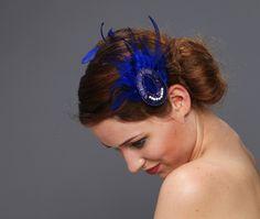 Headpieces & Fascinators - Glamgirl royalblau Haarklammer Federn Kristalle - ein Designerstück von billies bei DaWanda