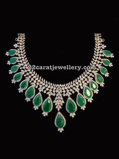 Latest Diamond Necklaces from SRJ Fine Jewellery - Jewellery Designs Pearl Jewelry, Diamond Jewelry, Jewelery, Diamond Necklaces, Emerald Diamond, Modern Jewelry, Fine Jewelry, India Jewelry, Selling Jewelry