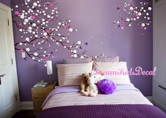 Wall Decal for living room, Wall Decals Nursery, Wall Stickers for baby room, Wall decorations, Wal Bedroom Wall Designs, Wall Decals For Bedroom, Kids Wall Decals, Bedroom Decor, Vinyl Decals, Purple Bedrooms, Girls Bedroom, Baby Room Wall Stickers, Girl Room