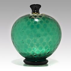 Green Murano glass vase with gold pattern poss. by Seguso, Venice. Italy 20th Cent.
