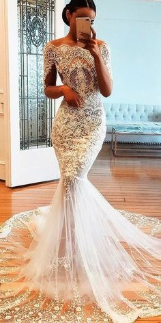 Wonderful Perfect Wedding Dress For The Bride Ideas. Ineffable Perfect Wedding Dress For The Bride Ideas. Half Sleeve Wedding Dress, Mermaid Wedding Dress With Sleeves, Applique Wedding Dress, Mermaid Dresses, Mermaid Skirt, Mermaid Gown, Light Wedding Dresses, Designer Wedding Dresses, Bridal Dresses