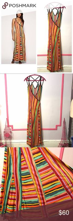 Rainbow Stripe Summer Wrap Maxi Dress Beach Pretty Beautiful Rainbow Stripe Maxi Wrap Dress from French Connection. Perfect for the beach, warm weather gatherings, and everyday chic & fun feminine style. Has large skirt sweep and drapes around body romantically. Sexy straps caged back with adjustable waist tie. Only worn once and in excellent condition, only flaw is small hole that is barely noticeable and hidden within skirt (see last photo). Size 0 💗 Make reasonable offers on any item in…