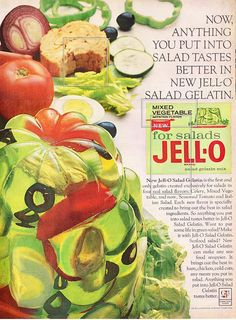 "1965 Mixed Vegetable ""for salads"" Jell-O ad"