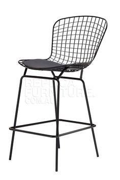 Harry Bertoia Wire Bar Stool Replica in Black Powdercoat | Bar Stools Online | Kitchen Counter Stools 52cm W * 58cm D * 108cm H. Seat Height 70cm $139 replica furniture
