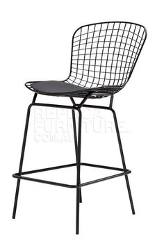 Harry Bertoia Wire Bar Stool Replica in Black Powdercoat | Bar Stools Online | Kitchen Counter Stools 52cm W * 58cm D * 108cm H. Seat Height 70cm $139 replica furniture