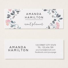 Girly Classy  Watercolor frame Bouquet pink grey Mini Business Card - classy gifts vintage diy ideas