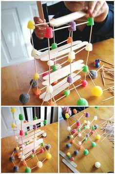 Gumdrop bridge building engineering activity with  toothpicks