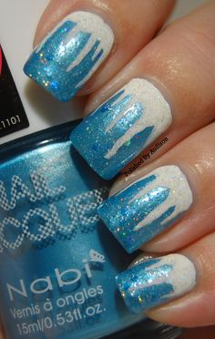 Polished By Audison: 12 Days of Christmas Nail Art Challenge   Day 5   Ice Blue and White