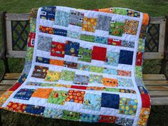 Baby quilt, baby boy, hand-quilted quilt, Ten LIttle Thngs, owls, trucks, modern on Etsy, $140.00
