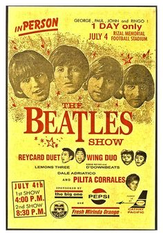 "The BEATLES 1966 The Philippines Concert Poster $8.00 • 100% Mint unused condition • Well discounted price + we combine shipping • Click on image for awesome view • Poster is 12"" x 18"" • Semi-Gloss Finish • Great Music Collectible - superb copy of original • Usually ships within 72 hours or less with tracking. • Satisfaction guaranteed or your money back. Go to: Sportsworldwest.com"