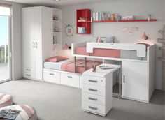 Inicio – Blanco Mobles Children and youth rooms – Blanco Mobles Kids Bedroom Designs, Bedroom Bed Design, Bunk Bed Designs, Home Room Design, Small Room Bedroom, Kids Room Design, Bedroom Decor, Bedroom Ideas, Bed For Girls Room