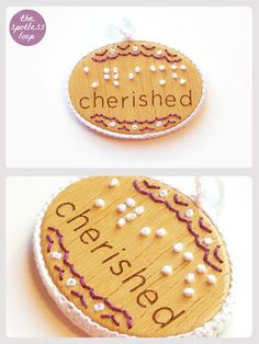 "Braille Pendant ""Cherished""! Embroidered Wooden Pendant! #jewelry #craft #embroidery"