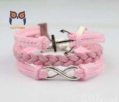 Infinity the anchor charm bracelet pink braided by littlecuteowl, $3.99