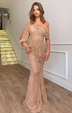 champagne tulle prom dress mermaid fashion dress in 2020 Glam Dresses, Elegant Dresses, Beautiful Dresses, Fashion Dresses, Formal Dresses, Party Dresses, Sexy Dresses, Classy Gowns, Formal Prom