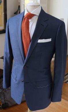 P Johnson - Suit : Ariston Doppio 'LD blue' Tie : Drake's for. Suit Fashion, Mens Fashion, Fashion Outfits, Business Outfits, Business Fashion, Green Suit, Orange Tie, Blue Ties, Wedding Suits