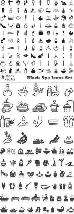 Vectors - Black Spa Icons Set