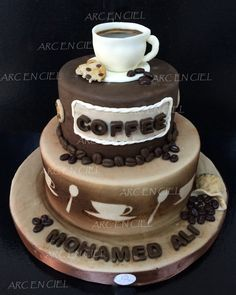 coffee cake Coffee Themed Party, Coffee Cake Decoration, Coffe Mug Cake, Chocolate, Cupcake Tutorial, 18th Birthday Cake, Creative Desserts, Cupcakes, Occasion Cakes