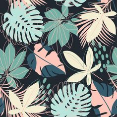 Summer Abstract Seamless Pattern With Colorful Tropical Leaves - Floral pattern flower pattern Vectors, Photos and PSD files Motif Jungle, Jungle Print, Apple Watch Wallpaper, Cute Patterns Wallpaper, Tropical Pattern, Oeko Tex 100, Tropical Leaves, Aesthetic Wallpapers, Textures Patterns