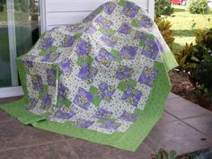 UNFINISHED QUILT TOP for Twin Full or Blanket / by TessieTextile, $98.00