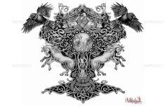 Norse Mythology Tattoos | Yggdrasil (Norse mythology) half-sleeve