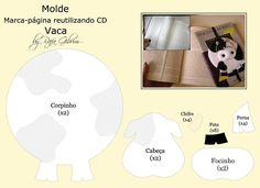 Molde - marca-página de vaca [reutilizando cd] | by Feito a mão [by Rafa]...Felt Bookmark with pattern!