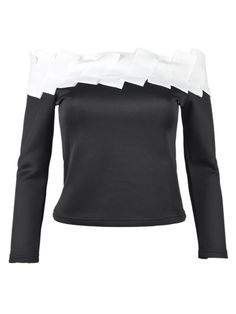 Contrast Off Shoulder Ruched Detail Top with Long Sleeve   Choies
