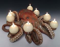 This octopus candle holder that my sister hand made at her pottery shop. Octopus Decor, Octopus Art, Pottery Shop, Pottery Studio, Fun Crafts, Arts And Crafts, World Crafts, Yarn Bowl, Tea Lights
